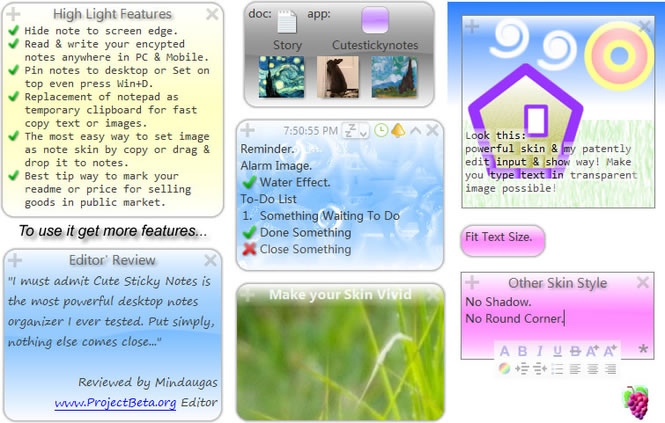 Cute Sticky Notes for win7 XP Vista Screen shot